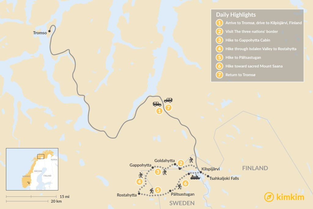 Map of Guided Three-Country Scandinavian Trek: 7 Days