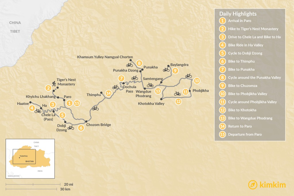 Map of Bike Tour of Bhutan - 15 Days