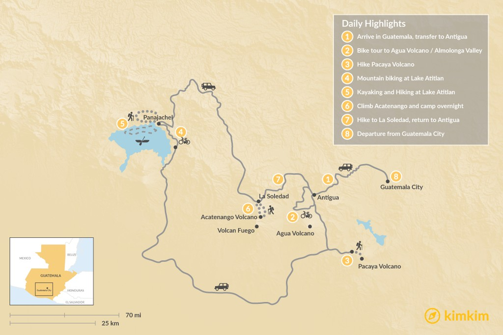 Map of Multi-Sport Adventure in Guatemala - 8 Days
