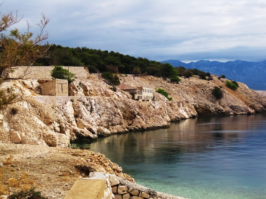 Remains of the former communist prisons on Goli otok