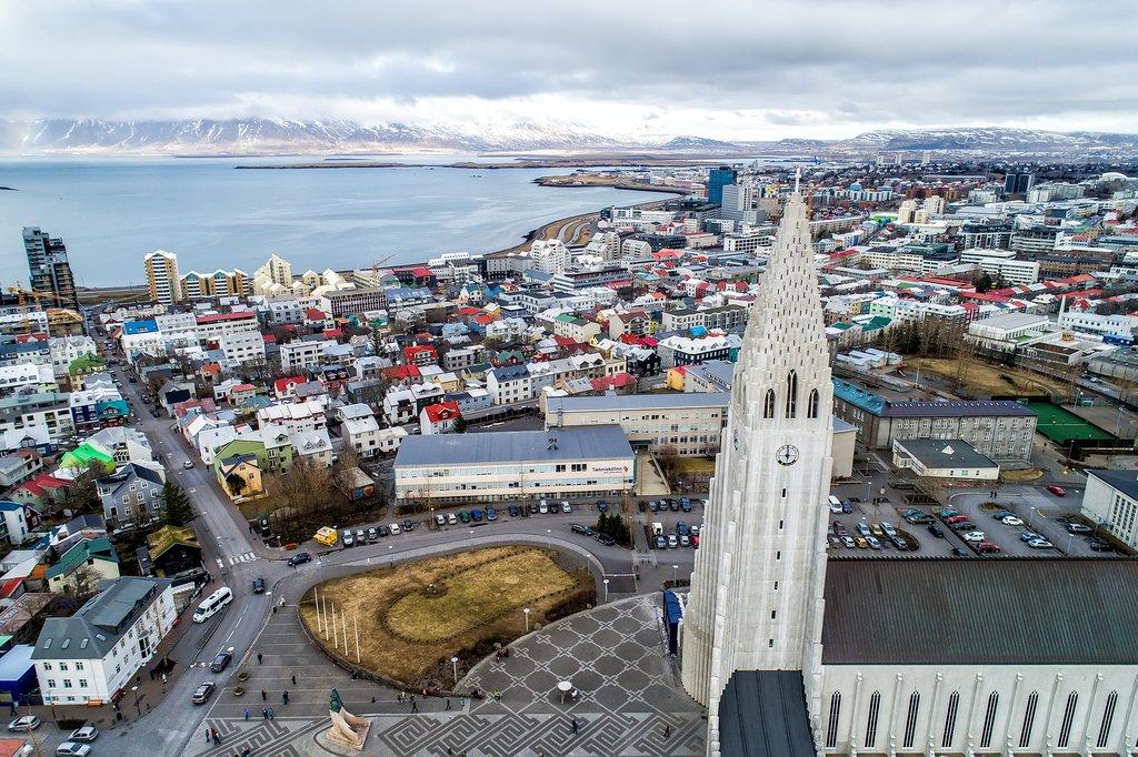 An aerial view of Reykjavík