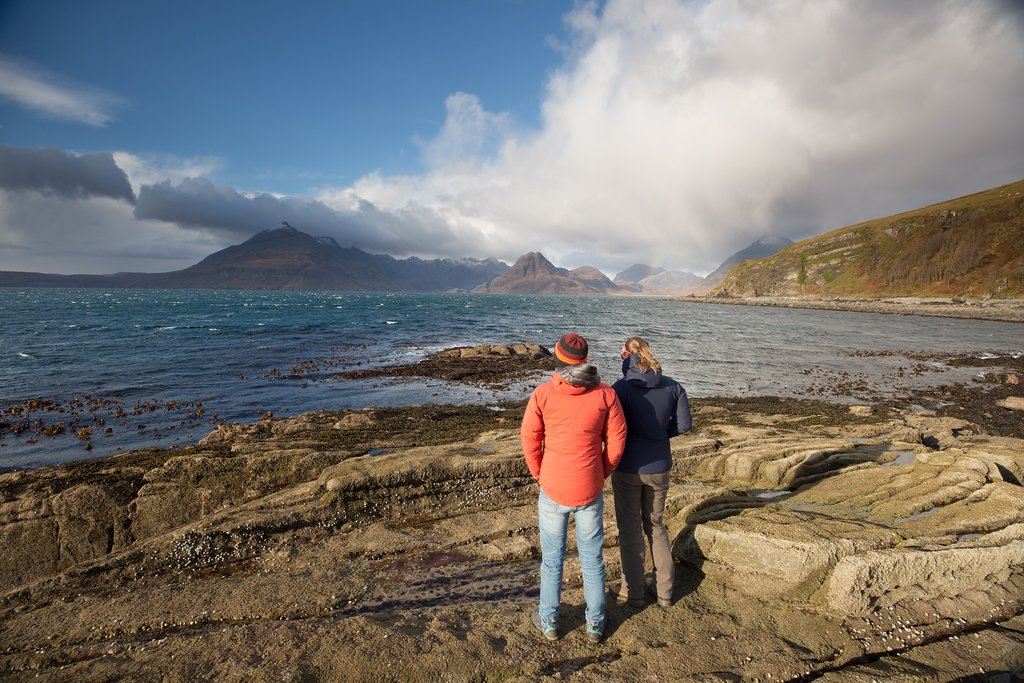 Looking across the sea to the Black Cuillin mountains of Skye.