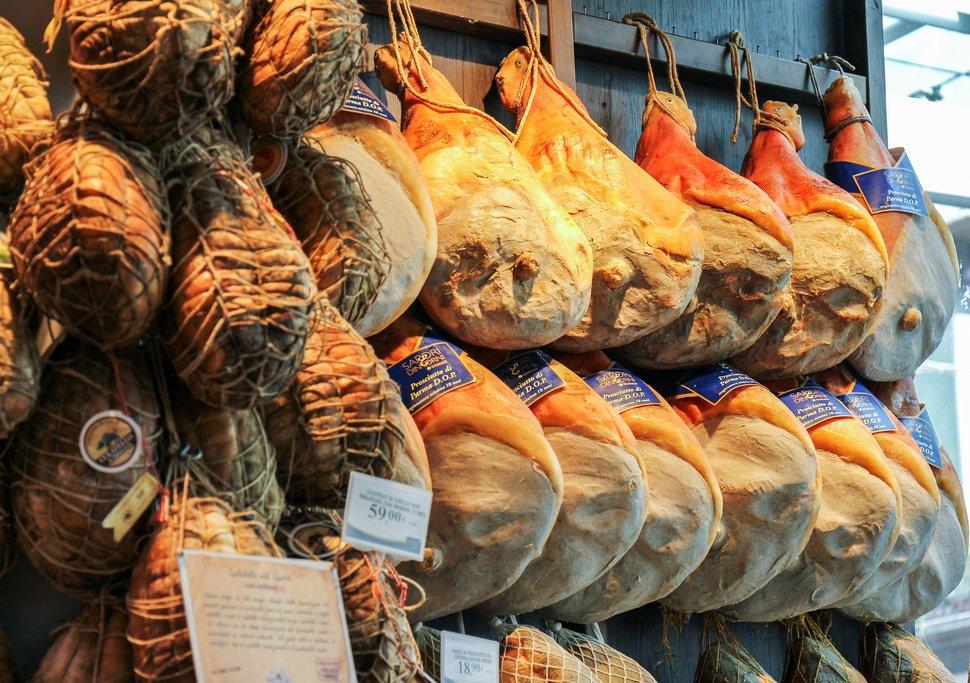Famous Prosciutto Ham in Parma, Italy