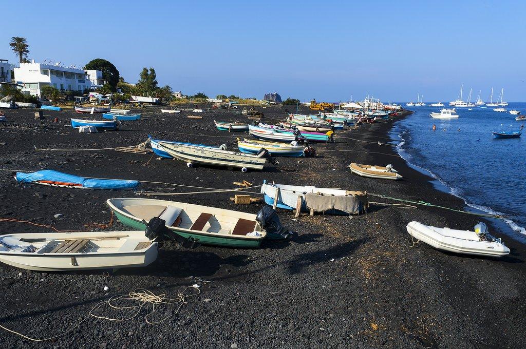 Italy - Sicily - Stromboli - Black sand beach of Stromboli