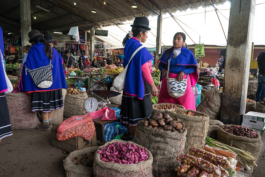 Guambiano indigenous women at the Silvia market