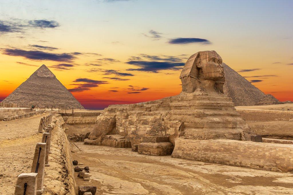 The pyramids and Sphinx in Giza