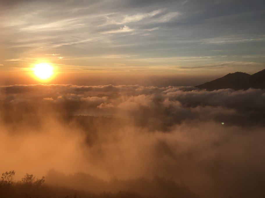 View of dramatic clouds from Mount Batur