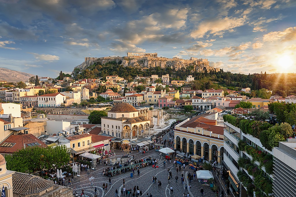 Monastiraki Square and Sunset over Plaka