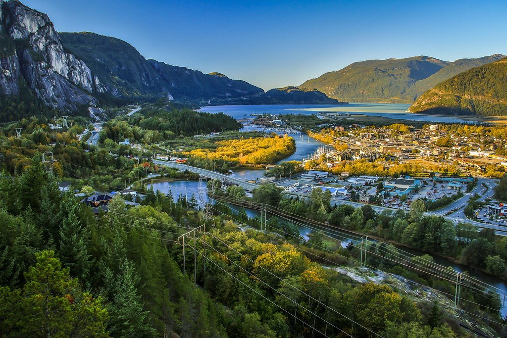 Town of Squamish, outdoor mecca for rock climbing, hiking, and water sports.