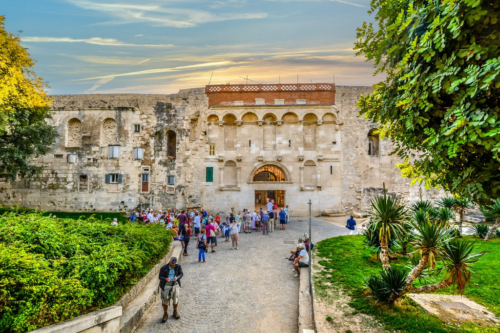 Outside the ancient Golden Gate of Diocletian's Palace in Split, Croatia