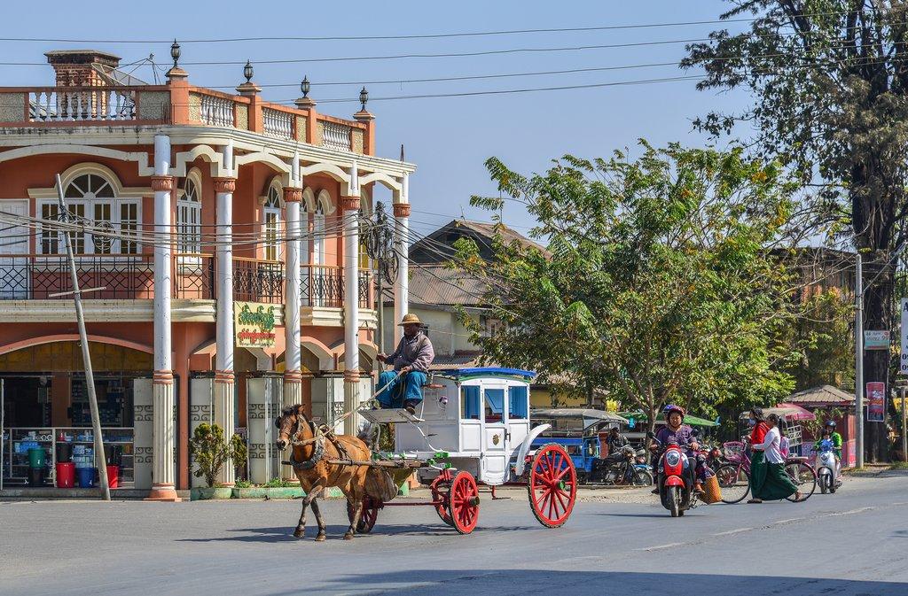 Horse carts in Pyin Oo Lwin, Myanmar