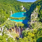 Waterfalls and travertine lakes in Plitvice Lakes National Park