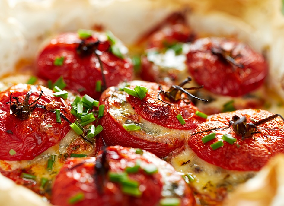 A Classic Greek Dish of  Stuffed Tomatoes