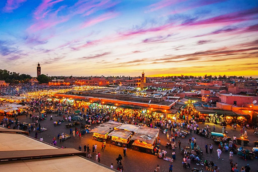 The bustling Jemaa el-Fnaa plaza in Marrakech