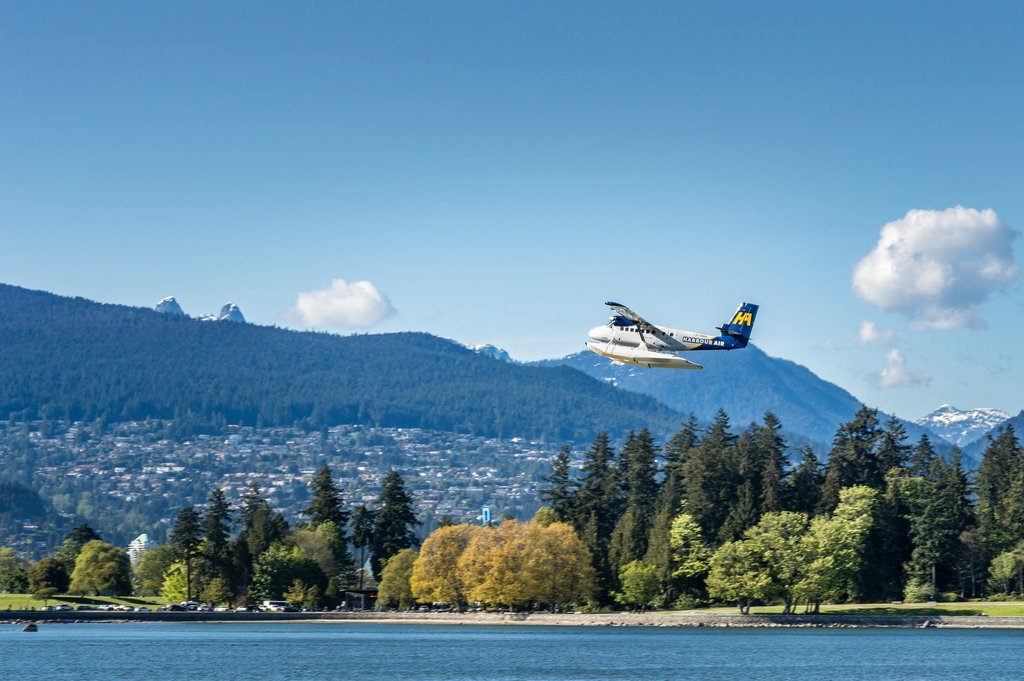 Float plane departing downtown Vancouver