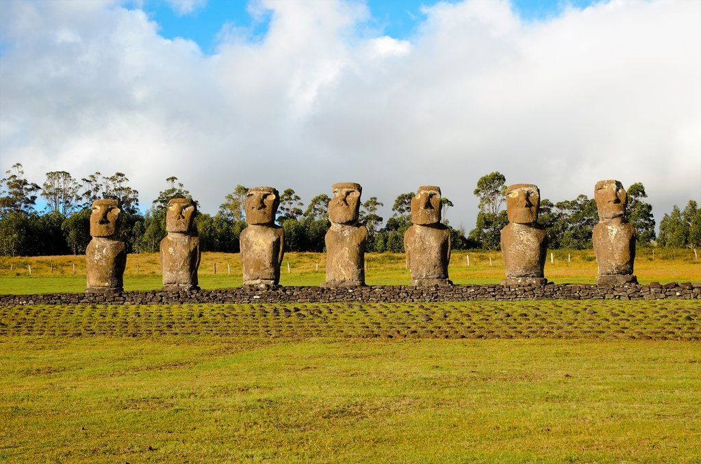The seven moai of Ahu Akivi