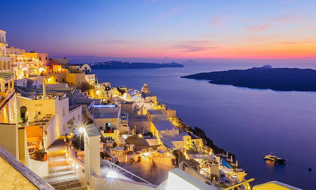 The Gorgeous Island of Santorini at Night