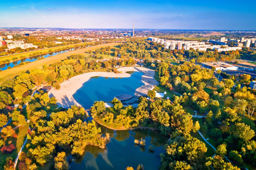 Aerial view of Bundek Lake and city of Zagreb