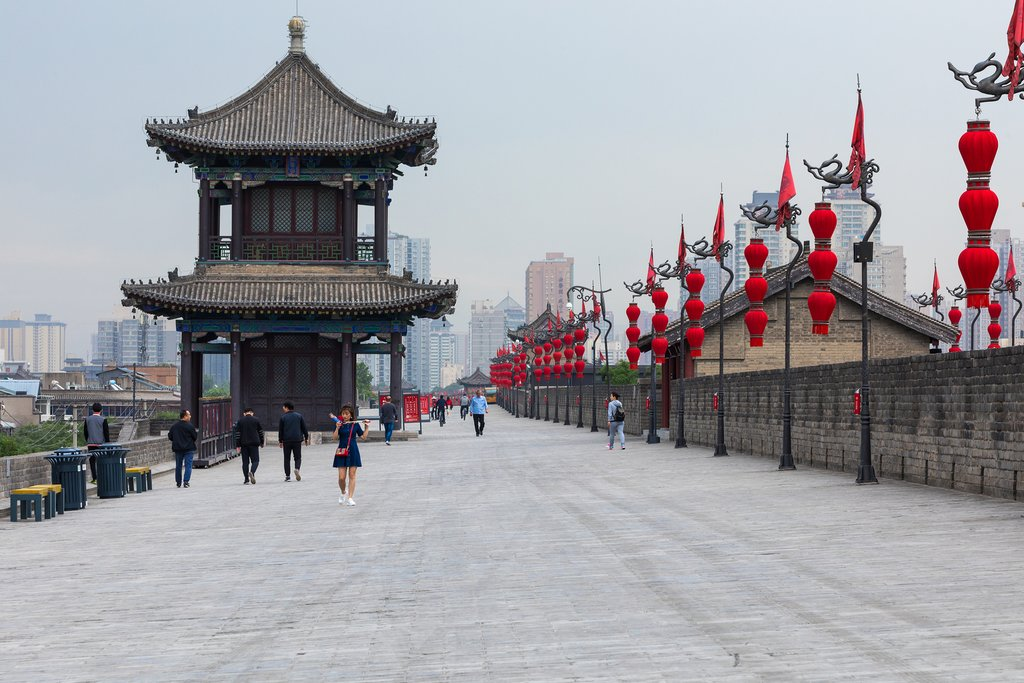 Walking the historic city walls of Xi'an