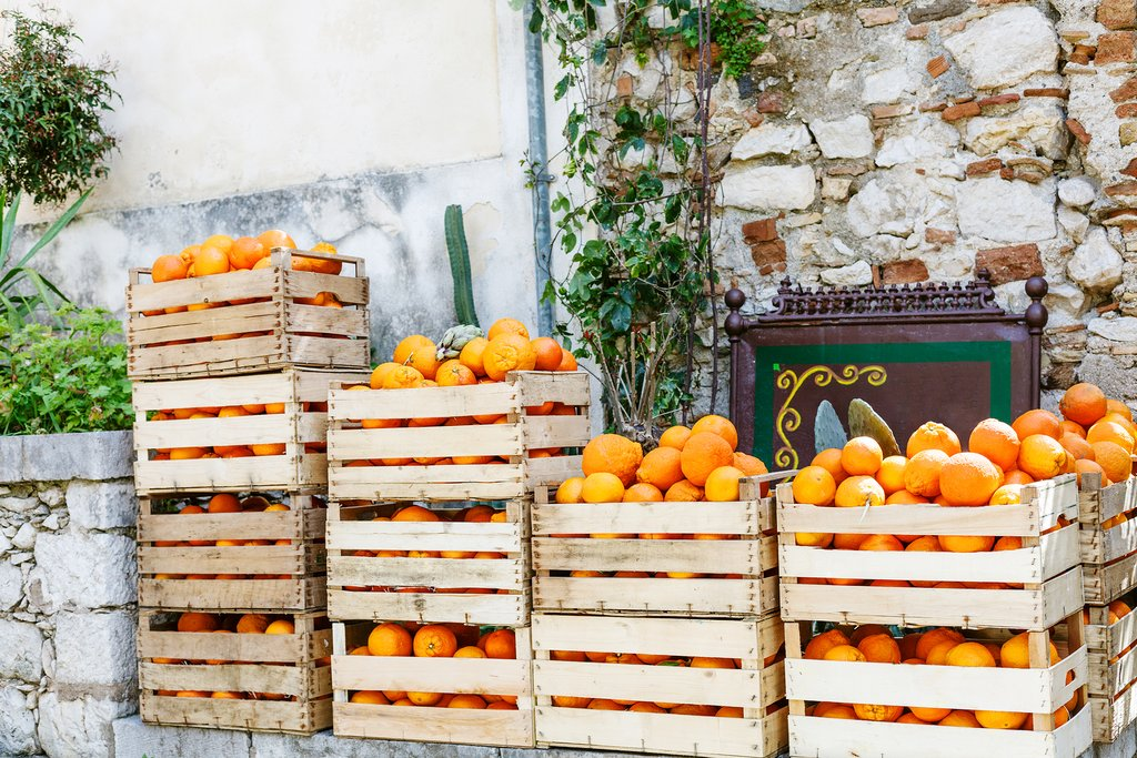 Oranges for sale, Taormina, Sicily, Italy