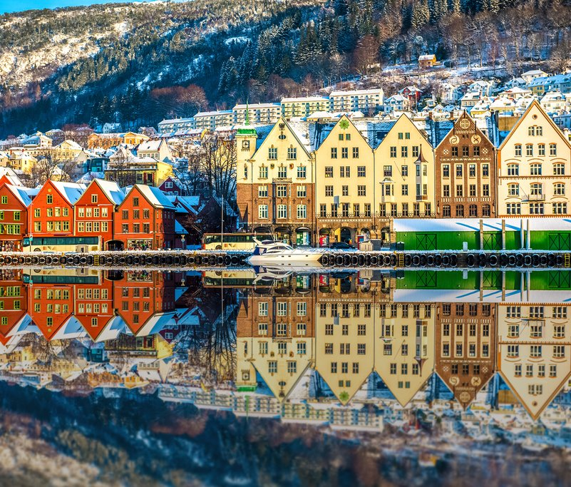 Bergen's colorful waterfront district of Bryggen.