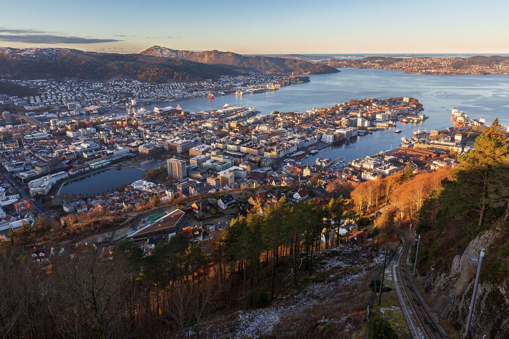 A view of Bergen City from Mount Fløyen