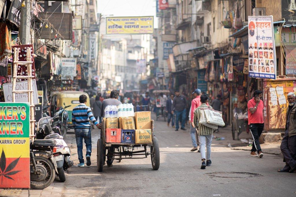 Lively bazaar in Delhi's Paharganj district
