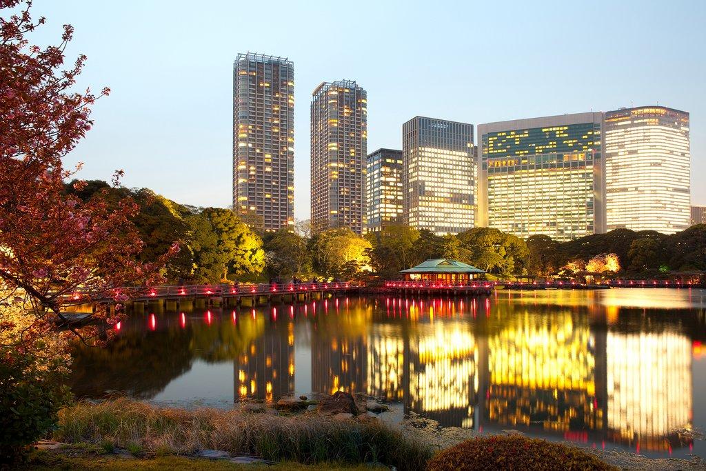 Nightfall at the Hama-Rikyu Gardens, Tokyo.