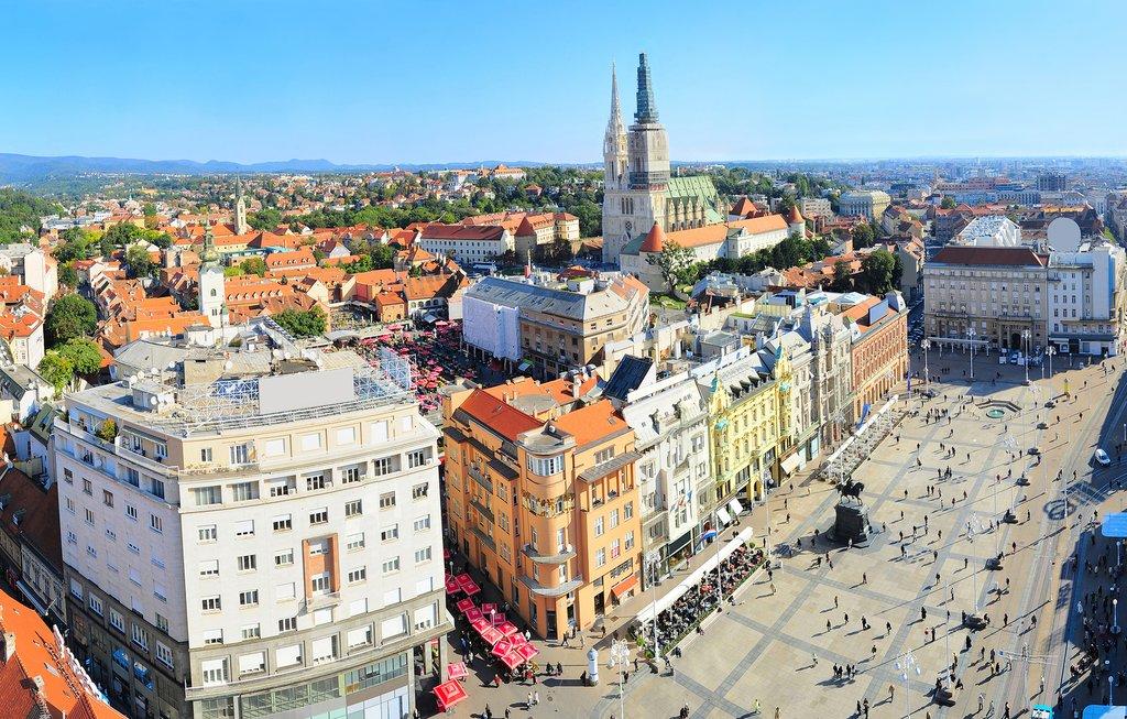 Zagreb's bustling Ban Jelačić Square