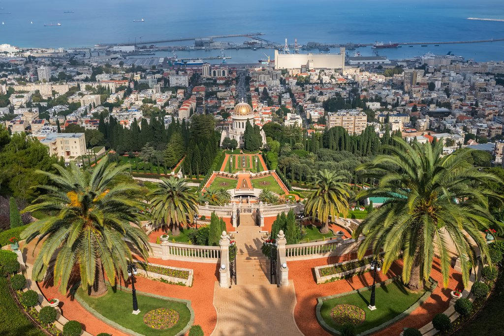 Bahai gardens and temple on the slopes of Mount Carmel