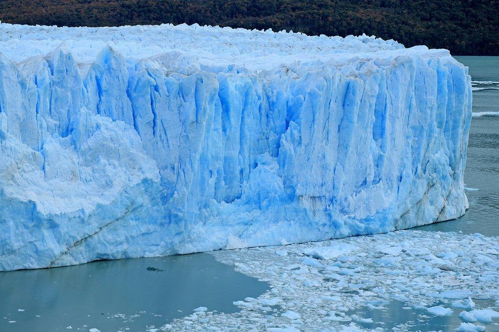 The massive ice walls of the Perito Moreno glacier