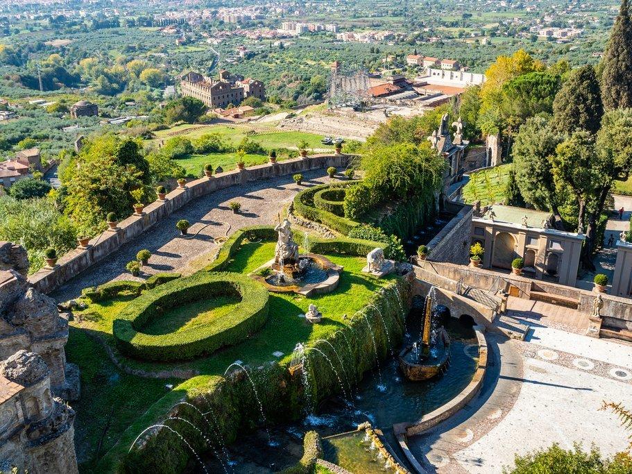 Aerial view of Villa d'Este near Rome
