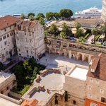 Aerial view of Diocletian's palace walls looking onto the Riva