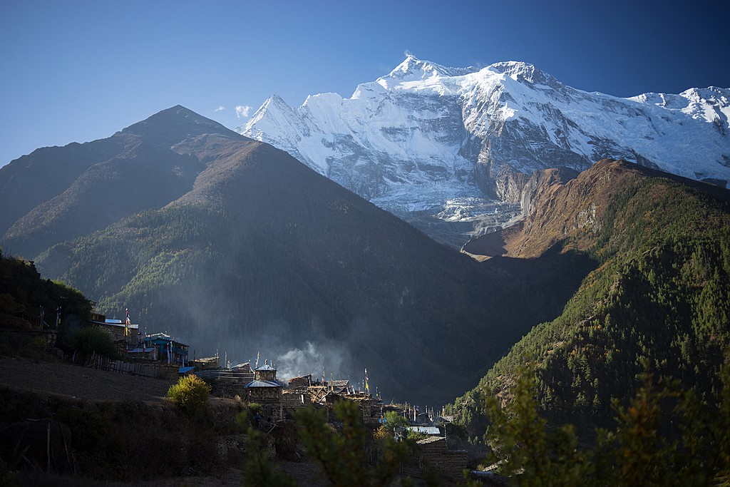 Local villages scattered across the foothills of the lower Annapurna region