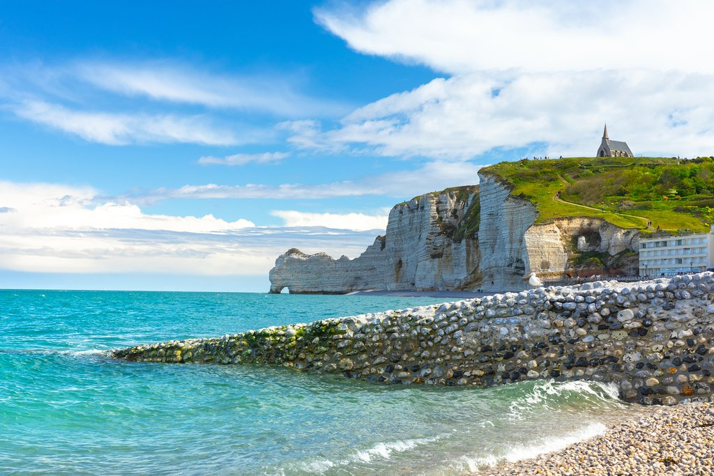 France - The breathtaking Étretat cliffs overlook the English Channel in Normandy