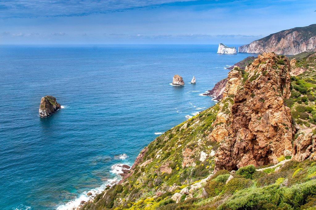 Views from the clifftop bike trail in Sardinia
