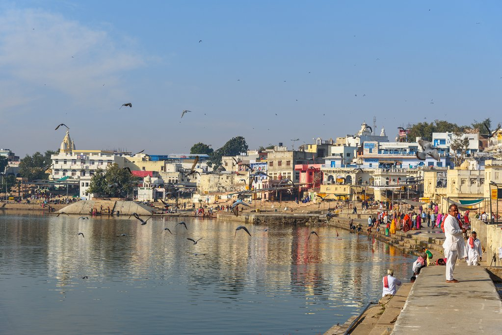 The banks of Pushkar holy lake are a famous bathing spot for pilgrims