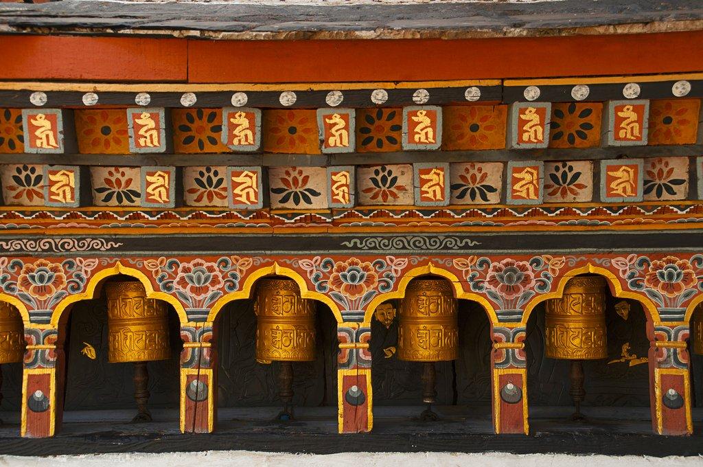 Prayer wheels in Thimphu