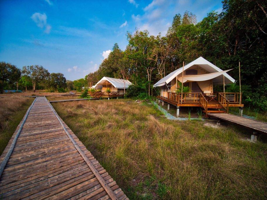 Stay in a  private luxury safari tent in Botum Sakor NP