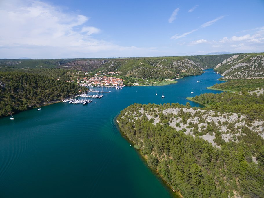 Aerial view over the Krka river estuary and Skradin