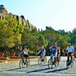 Biking past the Acropolis