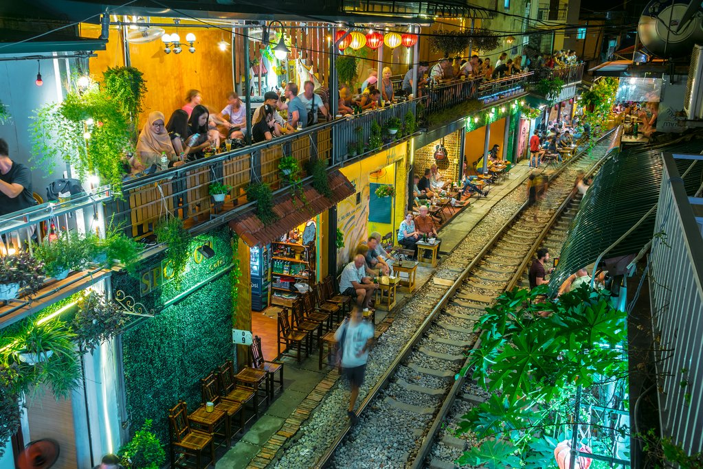 Famous Train Street at the Phung Hung Street, Hanoi