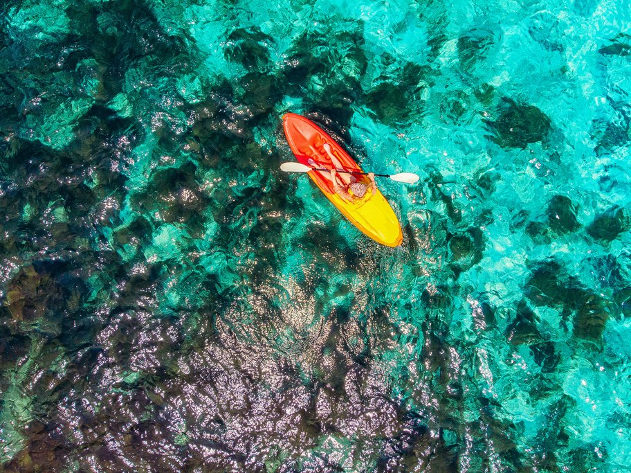Kayak amid crystalline waters