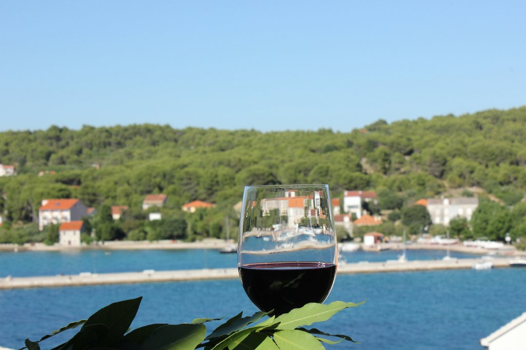 A glass of wine with a view on Zlarin island, Croatia