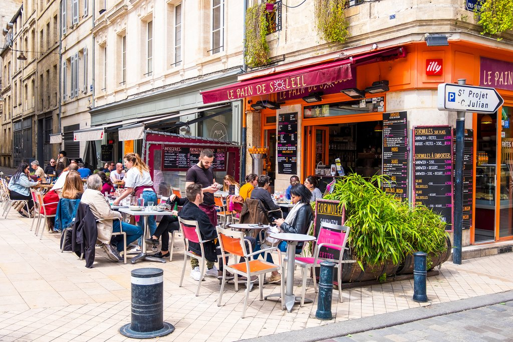 An outdoor café in Bordeaux, France