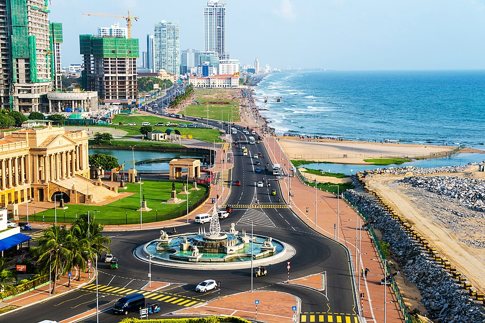The modern shoreline of Colombo City.