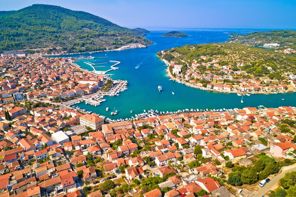 The bay of Vela Luka on Korcula Island
