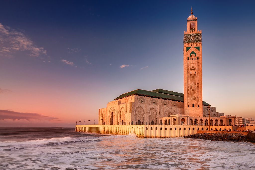 Evening light on the Hassan II Mosque in Casablanca