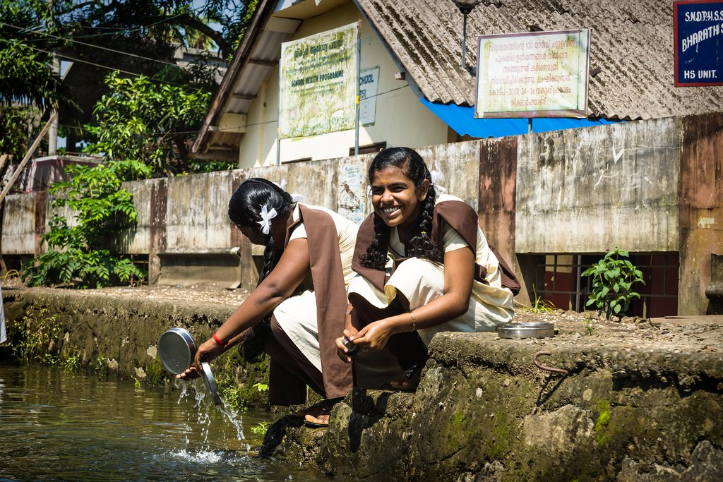 Local villagers near Kumarakom