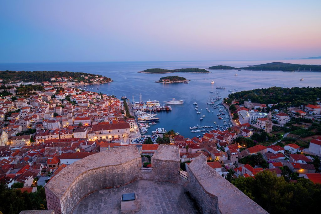 Hvar Town and the Pakleni Islands at sunset